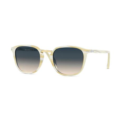 Men's Square Sunlgasses // Ivory + Brown Gradient Blue