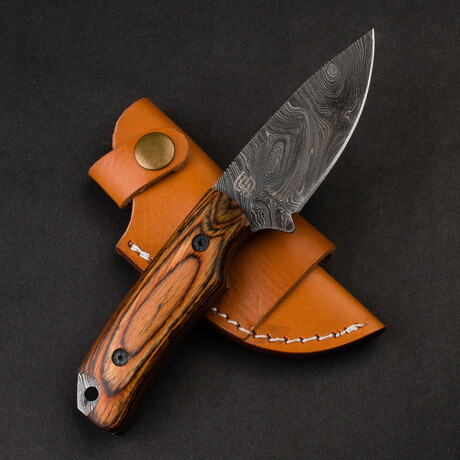 Boone Damascus Steel Skinner With Tali Wood Handle