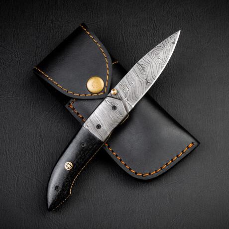 De Gaulle Damascus Steel Folding Knife // Damascus Steel Bolster