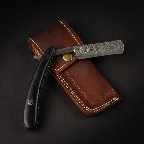 Damascus Steel Razor // Black Handle