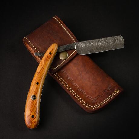 Damascus Steel Razor // Tan Handle