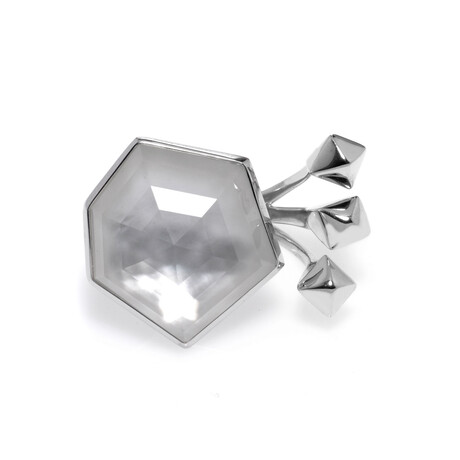Stephen Webster // Superstud Sterling Silver + Mother of Pearl Crystal Haze Ring // Ring Size 6 // Store Display