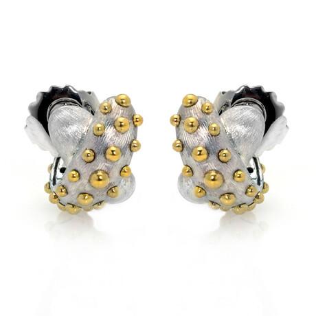 John Hardy // Sterling Silver + 18k Yellow Gold Dot Earrings // Store Display