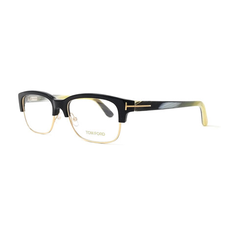 Men's Semi Rimless Rectangle Optical Frames // Black + Gold