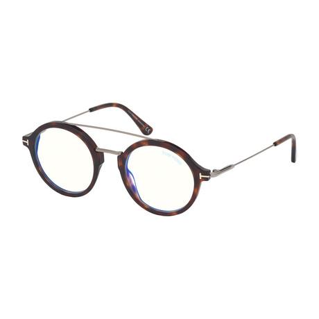Men's Blue Blocking Optical Round Frames // Dark Havana Gold