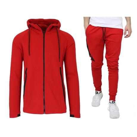 Tech Fleece Hoodie + Jogger Sets // Red (S)