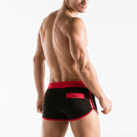 Active Mini Short // Black + Red (S)