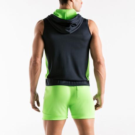 Active Sleeveless Hoodie // Black + Green (S)