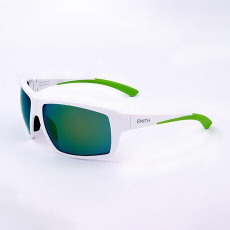 Smith // Unisex Hookshot Polarized Sunglasses // Matte White + Green