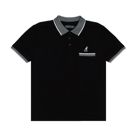 Pocketed Pique Polo + Jacquard Knit Trim // Black (S)