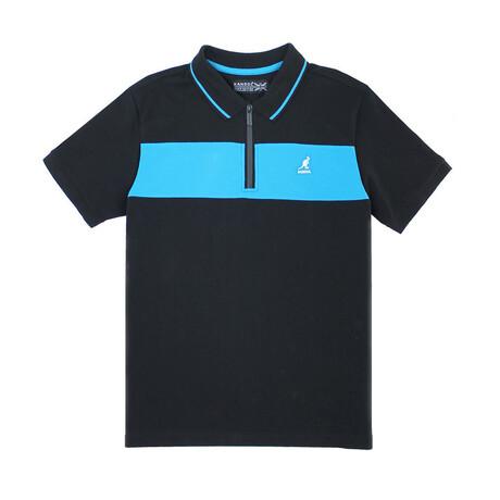 Pique Polo + Zippered Placket // Black + Blue (S)