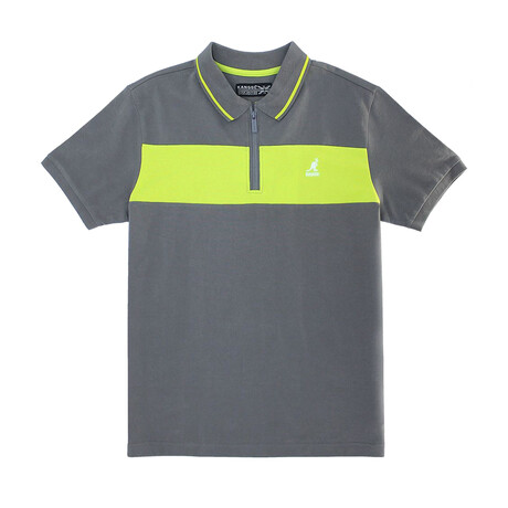 Pique Polo + Zippered Placket // Charcoal + Lime (S)