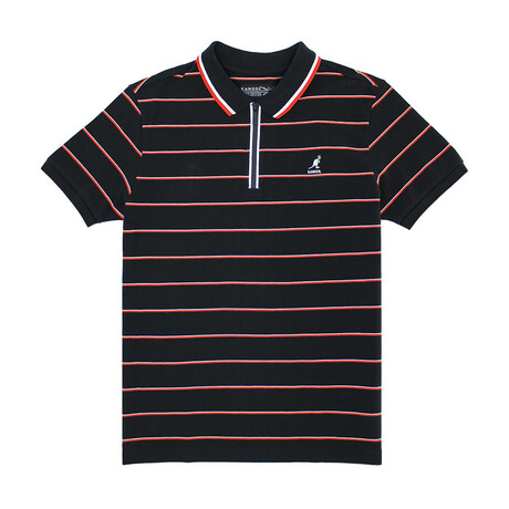 Yarn Dyed Striped Pique Polo + Zippered Placket // Black Combo (S)