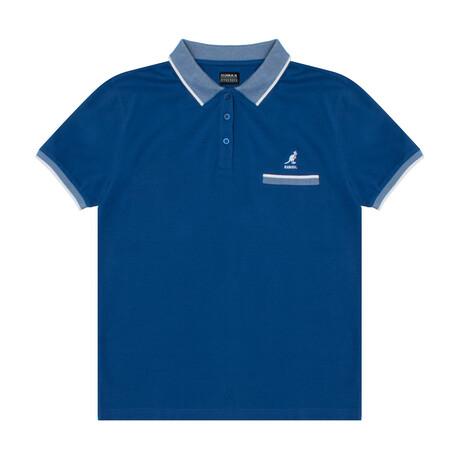 Pocketed Pique Polo + Jacquard Knit Trim // Déjà Vu Blue (S)