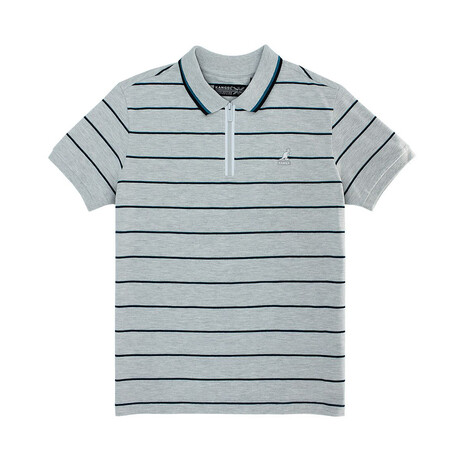 Yarn Dyed Striped Pique Polo + Zippered Placket // Ash Gray Combo (S)