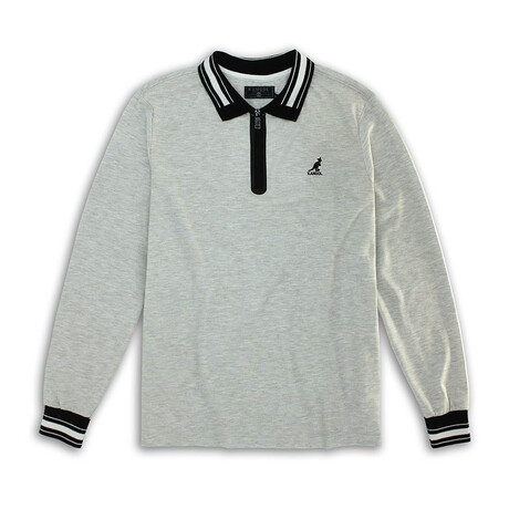 2-Tone Pique Long Sleeve Polo Knit Top // Ash Gray (S)