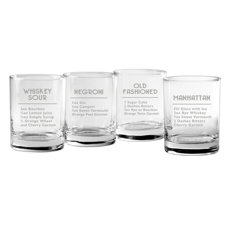 DOR Glasses // Set of 4 // Classic Cocktails // 14 Fl. Oz