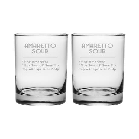 DOR Glasses // Set of 2 // Amaretto Sour Recipe // 14 Fl. Oz