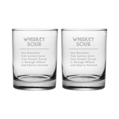 DOR Glasses // Set of 2 // Whiskey Sour Recipe // 14 Fl. Oz
