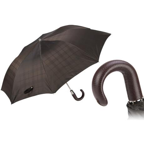 Check Folding Umbrella + Leather Handle // Brown