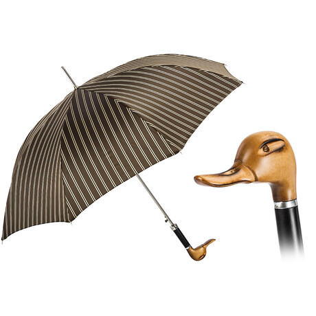 Hand Carved Duck Umbrella // Brown