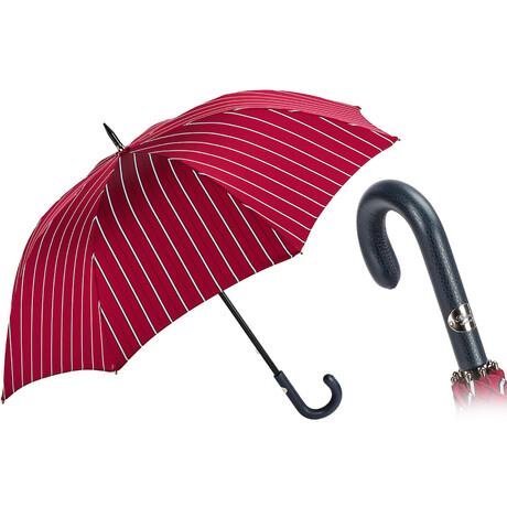 Large Striped Umbrella + Leather Handle // Red