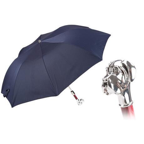 Polka Dot Labrador Folding Umbrella // Navy