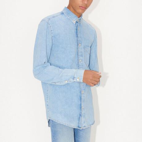 Rit Denim Long-Sleeve Button Down Shirt // Light Blue (S)