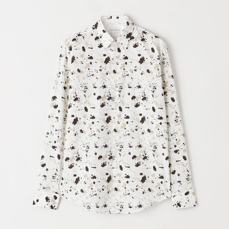 Farrell 4 Long-Sleeve Button Down Shirt // White + Brown (XS)
