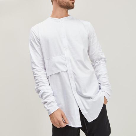 Layered Linen Grandad Collar Shirt // White (XS)