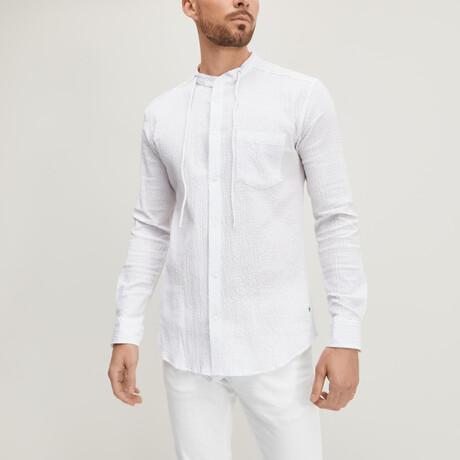 Drawstring Collar Button-Up Shirt // White (XS)