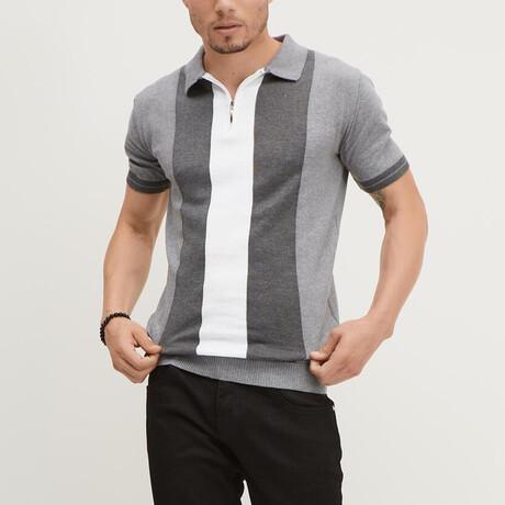 Panel Short-Sleeve Half-Zip Shirt // Gray + Anthracite + Ecru (XS)