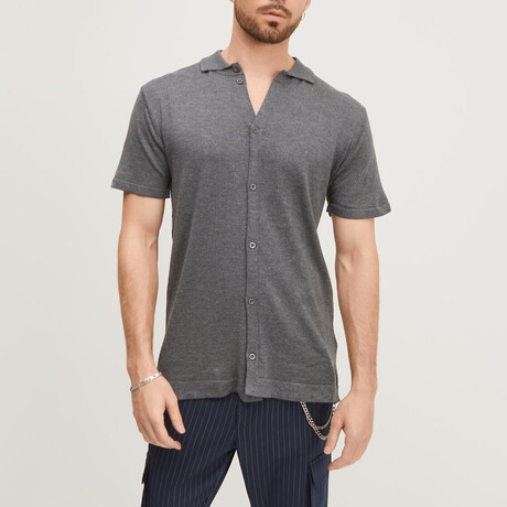 Short-Sleeve Button-Up Camp Shirt // Anthracite (XS)
