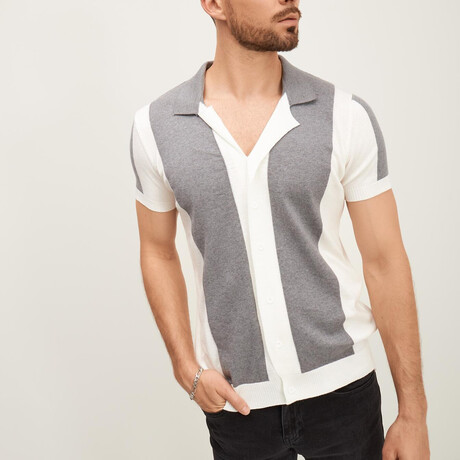 Panel Short-Sleeve Button-Up Shirt // Ecru + Gray (XS)