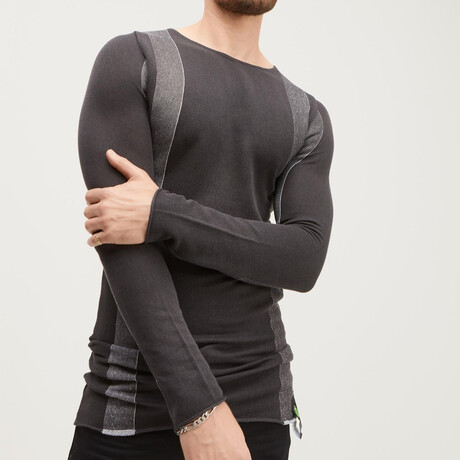 Elongated Contrasting Sweater // Anthracite (XS)