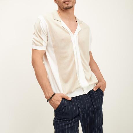 Panel Short-Sleeve Button-Up Shirt // Ecru + Beige (XS)