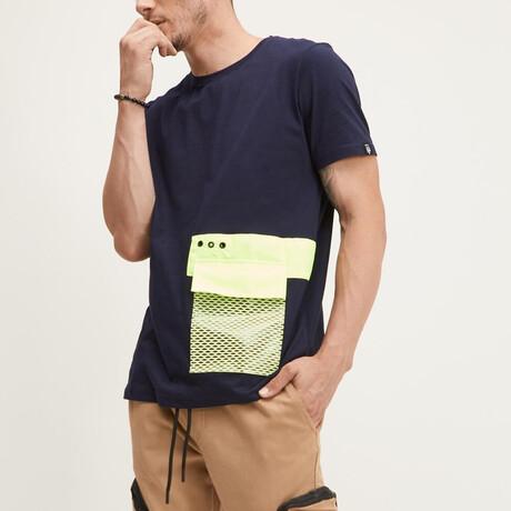 Neon Yellow Mesh Pocket Tee // Navy (XS)