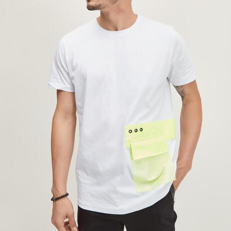 Neon Yellow Mesh Pocket Tee // White (XS)