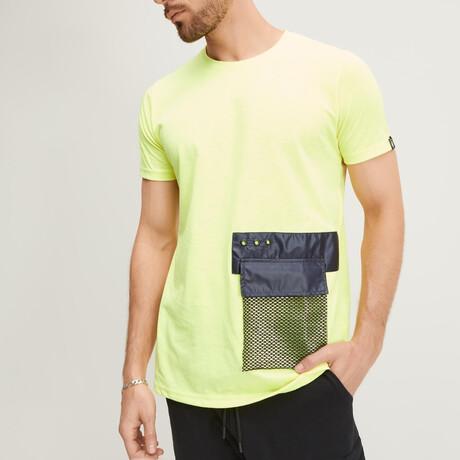 Black Mesh Pocket Tee // Neon Yellow (XS)