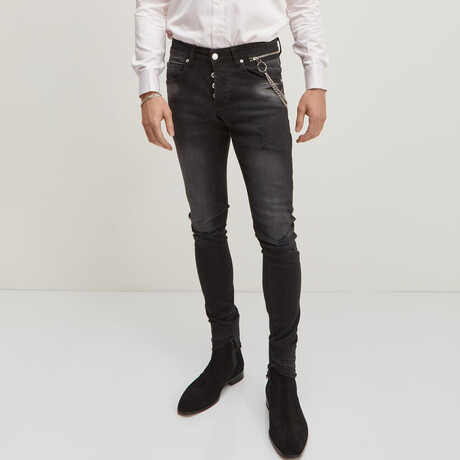 Grunge Button-Fly Skinny Jeans // Black (28WX30L)