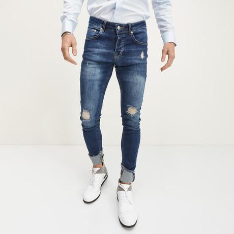 Neon Cuff Distressed Skinny Jeans // Navy (28WX30L)