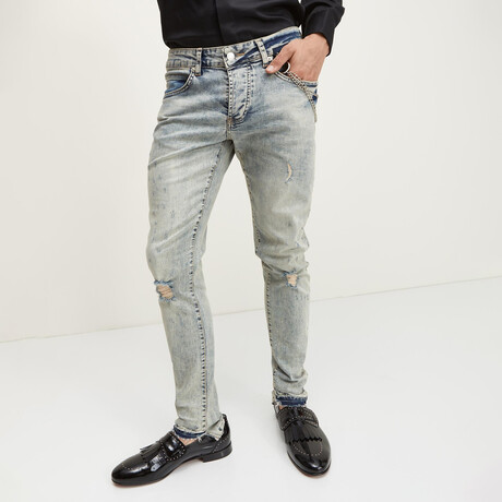 Grunge Button-Fly Skinny Jeans // Blue (28WX30L)