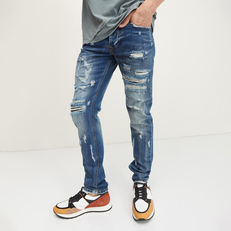 '55 Distressed Slim-Straight Cotton Jeans // Navy (29WX30L)