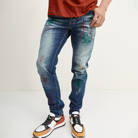 Painted Slim-Straight Jeans // Navy (28WX30L)