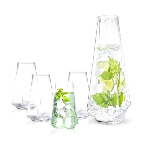 Infiniti Collection Pitcher + Highball Glass Set // Set of 4 Glasses