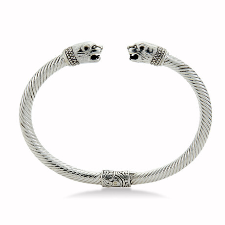 Sterling Silver Panther Cable Bangle