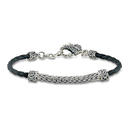 Thin Leather Cord Bracelet + Sterling Silver Accent