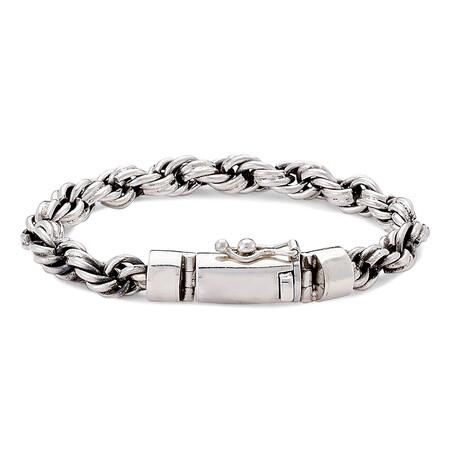Sterling Silver Interlocking Chain Bracelet + Slide Insert Lock
