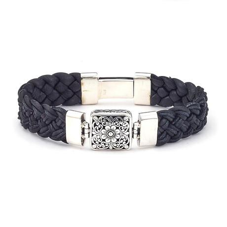 Sterling Silver Black Braided Leather Square Bracelet