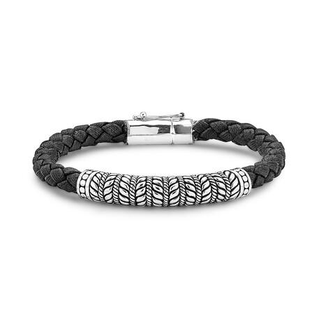 Sterling Silver Balinese Design Leather Bracelet